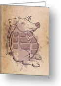 Vector Digital Art Greeting Cards - Ham-grenade Greeting Card by Joe Dragt