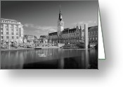 Sunbathing Greeting Cards - Hamburg - Binnenalster Greeting Card by Marc Huebner