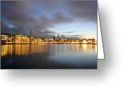Hamburg Greeting Cards - Hamburg Alster Christmas Time Greeting Card by Marc Huebner