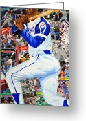 Ballpark Mixed Media Greeting Cards - Hammering Hank Aaron Greeting Card by Michael Lee