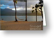 Hanalei Beach Greeting Cards - Hammock At Hanalei Bay Greeting Card by James Eddy