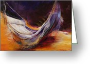 Featured Painting Greeting Cards - Hammock at Sunset Greeting Card by Lois Romei Schlowsky