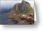 Gray Sky Greeting Cards - Hamnoy Rorbu Village Greeting Card by Heiko Koehrer-Wagner