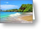 Waimea Bay Shorebreak Painting Greeting Cards - Hamoa Shorebreak Greeting Card by Dominic Piperata