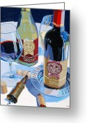 Wine Bottle Greeting Cards - Hampden Sydney Red and White Number One Greeting Card by Christopher Mize