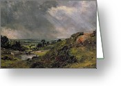 Rain Cloud Greeting Cards - Hampstead Heath Greeting Card by John Constable