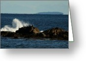 Waves Pyrography Greeting Cards - Hampton Beach Crashing Waves 1 Greeting Card by Robert Morin