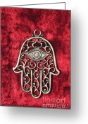 Amulet Greeting Cards - Hamsa  Greeting Card by Shay Levy