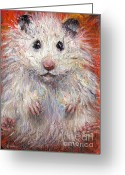 White Drawings Greeting Cards - Hamster Painting  Greeting Card by Svetlana Novikova