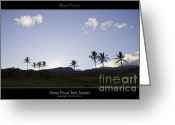 Sunset Posters Greeting Cards - Hana Palm Tree Sunset - Maui Hawaii Posters Series Greeting Card by Denis Dore