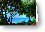 Island Photos Greeting Cards - Hanakapiai Beach 2 Greeting Card by Ken Smith