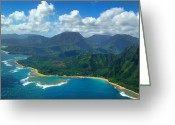 Island Photos Greeting Cards - Hanalei Bay 2 Greeting Card by Ken Smith