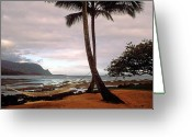 Featured Artwork Prints Greeting Cards - Hanalei Bay Hammock at Dawn Greeting Card by Kathy Yates