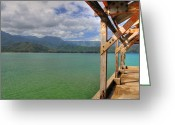 Hanalei Beach Greeting Cards - Hanalei Bay Pier Greeting Card by Kelly Wade