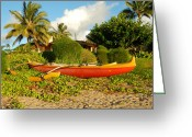 Hanalei Beach Greeting Cards - Hanalei Canoe Greeting Card by Rashelle Brown