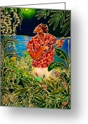 Guava Greeting Cards - Hanalei Moon Greeting Card by Angela Treat Lyon