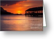 Paradise Pier Greeting Cards - Hanalei Pier Greeting Card by Mike  Dawson