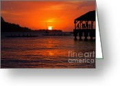 Paradise Pier Greeting Cards - Hanalei Sunset Greeting Card by Mike  Dawson