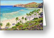 Bay Painting Greeting Cards - Hanauma Bay - Oahu Greeting Card by Steve Simon