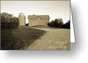 Round Barn Greeting Cards - Hand-colored Barn on NN Greeting Card by Jan Faul
