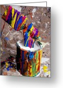 Brushes Greeting Cards - Hand coming out of paint bucket Greeting Card by Garry Gay