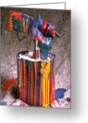 Paintbrush Photo Greeting Cards - Hand coming out of paint can Greeting Card by Garry Gay