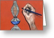 Pen Pastels Greeting Cards - Hand Drawing Lamp Greeting Card by Melvin Moon