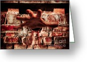 Torture Greeting Cards - Hand Grabbing Viewer Greeting Card by Wim Lanclus