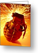 Explode Greeting Cards - Hand Grenade  Greeting Card by Garry Gay