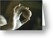 Europe Sculpture Greeting Cards - Hand Holding Ball Greeting Card by Carl Purcell
