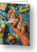 Fingers Greeting Cards - Hand Holding Butterfly Toy Greeting Card by Garry Gay