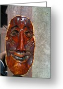 Person Ceramics Greeting Cards - Hand Made Mask Greeting Card by Emily Osborne