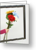 Holding Flower Greeting Cards - Hand of girl holding flowers over empty picture frame Greeting Card by Sami Sarkis