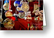 Ornaments Greeting Cards - Handcrafted Mouth Blown Christmas Glass Balls Greeting Card by Christine Till