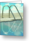 Water Swimming Pool Greeting Cards - Handles On Sides Of Pool Greeting Card by jesuscm