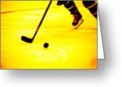 Hockey Action Greeting Cards - Handling It Greeting Card by Karol  Livote