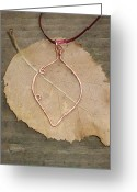 Golden Jewelry Greeting Cards - Handmade Solid Copper Leaf Pendant Greeting Card by Naomi Mountainspring