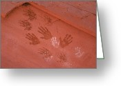 Pre Columbian Antiquities And Artifacts Greeting Cards - Handprints Painted On A Rock Wall Greeting Card by Ira Block