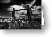 Northern Ireland Greeting Cards - Hands Across The Divide Sculpture By Maurice Harron In Derry City County Londonderry Greeting Card by Joe Fox
