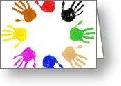 Racism Greeting Cards - Hands Circle Greeting Card by Richard Thomas