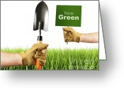 Shovel Greeting Cards - Hands holding garden trowel and sign Greeting Card by Sandra Cunningham