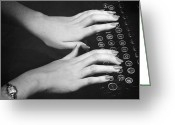 Typewriter Greeting Cards - Hands Typing Greeting Card by George Marks