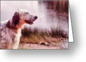 Dog Art Pyrography Greeting Cards - Handsome Hunter. English Setter Greeting Card by Jenny Rainbow