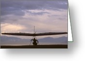 Black Kites Greeting Cards - Hang Glider And Pilot Wait To Launch Greeting Card by Skip Brown