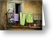 Peeling Greeting Cards - Hanged Clothes Greeting Card by Carlos Caetano