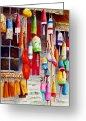 Maine Painting Greeting Cards - Hanging Around Greeting Card by Karen Fleschler
