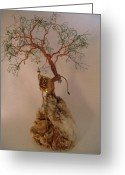 Wildlife Art Ceramics Greeting Cards - Hanging It Up Greeting Card by Judy Byington