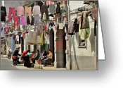 Friends Greeting Cards - Hanging out in the streets of Shanghai Greeting Card by Christine Till