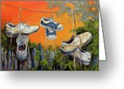 Athletic Painting Greeting Cards - Hanging Tennis Shoes Greeting Card by Jean Groberg