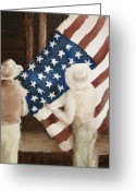 Patriotism Painting Greeting Cards - Hanging the Flag - 1 Greeting Card by Frieda Bruck